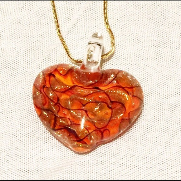Jewelry - 🌸Red, Black, Gold, Murano Glass Heart Necklace